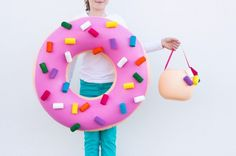 Use an inner tube and hair curlers to make this donut costume.