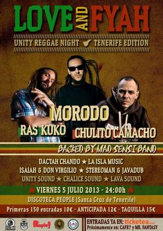 VIERNES 5 DE JULIO LOVE & FYAH. DISCOTECA PEOPLE SANTA CRUZ DE TENERIFE. MORODO, CHULITO CAMACHO, RAS KUKO, UNITY SOUND, CHALICE SOUND, LAVA SOUND...Y MAS ARTISTAS.