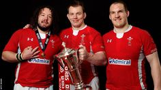 The Welsh front-row – Adam Jones, Matthew Rees and Gethin Jenkins – pose with the Six Nations trophy Welsh Rugby Players, Dragon Wagon, Wales Rugby, Adam Jones, Six Nations, Big Men, Front Row, Lions