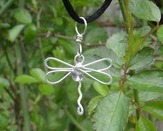 Dragonfly Pendant With Amethyst Stone Bead by nicholasandfelice, $16.50