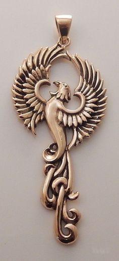 PHOENIX Rising Pendant Gold Tone Bronze FIRE BIRD Rebirth SUN Bird jewelry #PeterStoneJewelry #Pendant