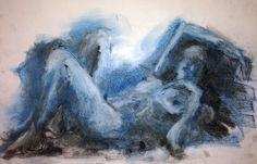 Título: «Soy azul» Autor: Ramiro Beltrán Twitter: @rabeltm Técnica: pastel y carbón sobre papel.