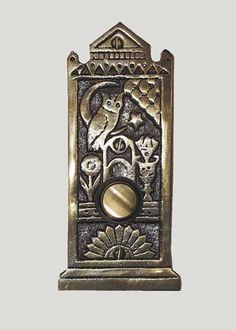 Shop for the Eastlake Doorbell Button by Waterglass Studios Ltd. and compare to other Doorbell Buttons. This Victorian style doorbell button features an owl, moon and stars, and flowers in classic Eastlake style. Doorbell Cover, Owl Door, Doorbell Button, Doorbell Chime, Victorian Door, Victorian Kitchen, Studios, Door Knobs And Knockers, Door Furniture