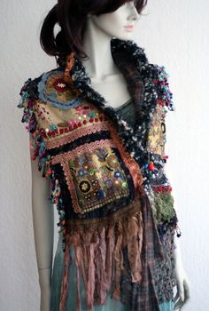urban nomad bold wild textile collage shawl shrug by FleurBonheur