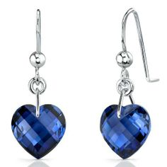 Classy 9.75 carats Heart Shape Blue Sapphire earrings in Sterling Silver Rhodium Finish Peora. $69.99. Save 56%!