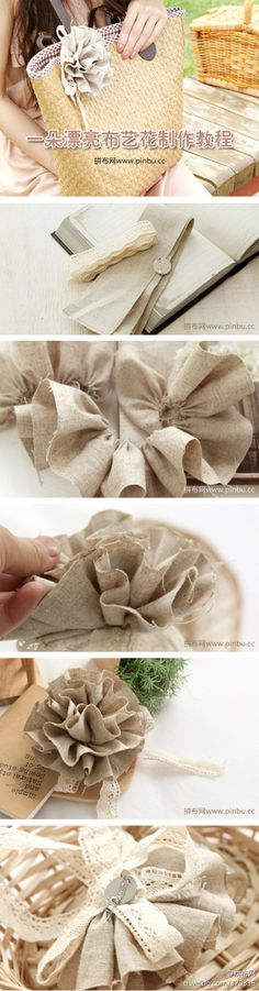 Burlap flower DIY... some lace, too... http://www.duitang.com/people/mblog/40801941/detail/#