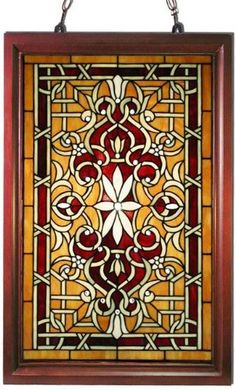Tiffany Style classic Window Panel. The primary colors are amber, yellow and orange. $181.00