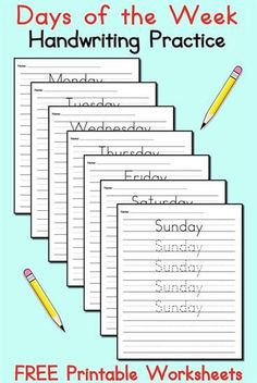 FREE Days of the Week Handwriting Worksheets. These tracing and writing worksheets are great for preschool and kindergarten. Get all 7 days of the week worksheets here --> http://www.mpmschoolsupplies.com/ideas/7533/free-days-of-the-week-handwriting-worksheets/