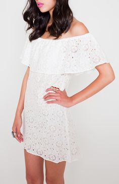 Off the shoulder boho lace dress, I'll have to make it just a tad longer and add a belt = perfection!