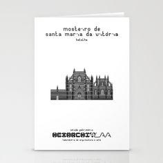 HexArchi - Portugal, Batalha, Mosteiro de Santa Maria da Vitória . Igreja e Capela do Fundador Stationery Card