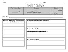 Are you preparing to study Tall Tales? This set of printables is perfect to help students better understand characteristics of tall tales. This set. 2nd Grade Ela, 3rd Grade Reading, Second Grade, Teaching Writing, Student Teaching, Teaching Ideas, Traditional Literature, Tall Tales, Sorting Activities