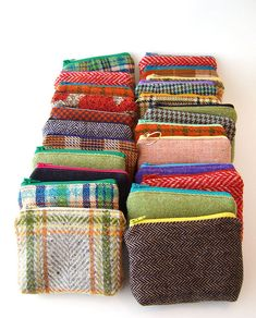 zippered pouches made from re-purposed wool