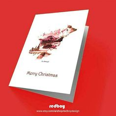 Donegal Christmas Card Ireland Christmas Card Red and White Christmas In Ireland, Irish Christmas, Christmas Cards, Merry Christmas, Donegal, Digital Prints, Red And White, My Arts, Graphic Design