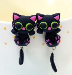 Handmade Funny Cartoon Cat Earrings