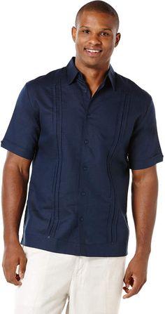 94c91d4a Cubavera Linen Short Sleeve Pleated Panel Guayabera Groom Outfit, Perry  Ellis, Linen Shorts,