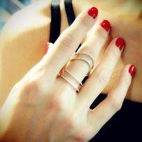 "Plukka - ""Double Vision"" 18K White Gold Diamond Ring - $1,150"