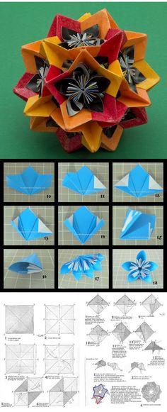 """Kusudama electra """"recheado"""" de flores modulares. Uma boa idéia! Diagrama kusudama electra: http://blogcupcakevirtual.blogspot.com Tutorial da flor: http://papeletalorigami.blogspot.com"""