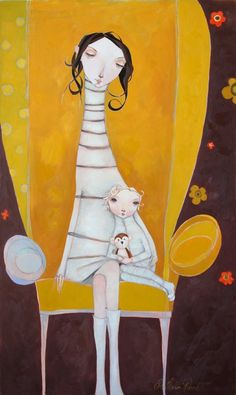 yellow - mother and child - painting - Melissa Peck Naive Art, Children's Book Illustration, Whimsical Art, Illustrators, Artwork, Concept Art, Art Gallery, Collage, Drawings