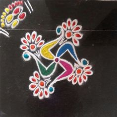 Rangoli by Jyothi mahajan kale Rangoli Colours, Rangoli Patterns, Rangoli Kolam Designs, Rangoli Ideas, Simple Rangoli Designs Images, Colorful Rangoli Designs, Beautiful Rangoli Designs, Free Hand Rangoli Design, Small Rangoli Design