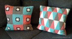 Häkelkissen / triangle crochet pillow / granny square cushion