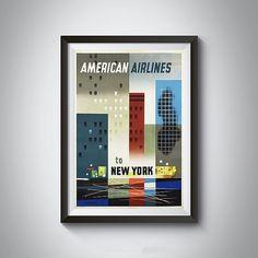 Vintage New York American Airlines Art Print by 2473VintageArt