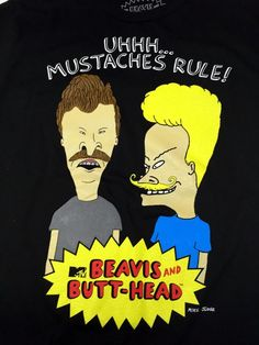 Beavis and Butt-Head Cartoon Mustaches Rule Butthead Black T-Shirt M Medium #BeavisandButtHead #TShirt