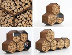 Really like these, anyone know who makes them? Wood Bee Log Stores - Harrie Leenders - Now Available at www.fireplaceproducts.co.uk