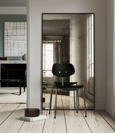 Antiqued Leaning Mirror in New York