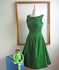 retro kelly green dress