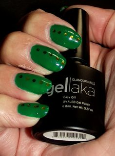 "Glamour Nail Gellaka Gel Polish in ""New York, NY"" with glitter accents!  Review and more information at http:gel-luv.blogspot.com"