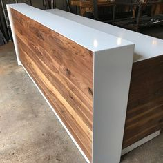 Walnut & Steel Reception Desk (White)