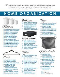 Home organization and simplify printable checklist, room by room