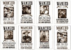 Wild West Party How To's (with Free Printables): wanted posters and hanging burplap lights....GREAT SITE