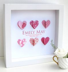 Personalised Christening Paper Hearts Pink