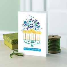 """UNICEF Holiday Cards Boxed Set, 'Hanukkah Menorah' Inside Sentiment: May the Season of Lights Be Warm and Bright for You. One of the oldest symbols of the Jewish faith, the Menorah symbolizes the miracle of light. 12 cards, 13 envelopes. 5"""" x 7""""  Made in USA"""
