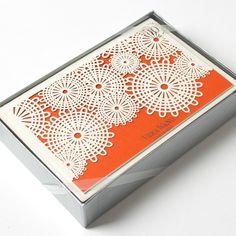 Laser-Cut Orange Parasol Tri-Fold Note Cards by Vera Wang
