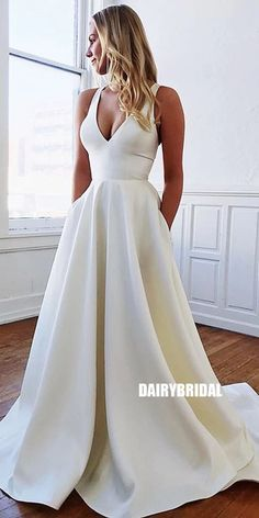 Wedding Dresses Long,Wedding Dresses Sleeveless,Wedding Dresses Satin,Wedding Dresses A-Line,Wedding Dresses White Plain Wedding Dress, White Bridal Dresses, Wedding Dress With Pockets, Country Wedding Dresses, Dream Wedding Dresses, Bridal Gowns, Lace Dresses, Dresses With Sleeves, Prom Dresses