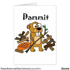 Funny Beaver and Dam Cartoon