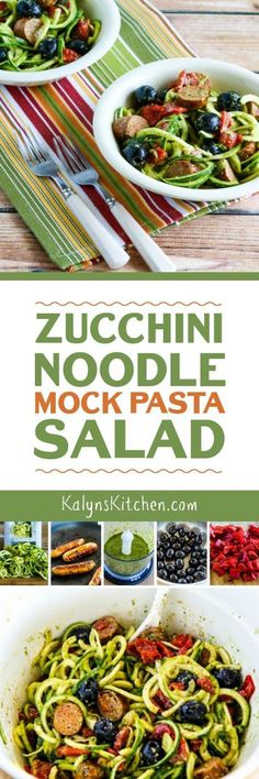 This Zucchini Noodle Mock Pasta Salad is deliciously healthy and it's low-carb, gluten-free, and South Beach Diet Phase One. This has all my favorite pasta salad flavors but none of the carbs! [found on KalynsKitchen.com]