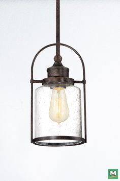 Patriot Lighting Resto Pendant With Imperial Bronze Finish And Clear Seeded Gl