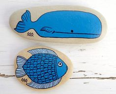 #PaintedSeaStones #Whale #Fish by KYMA - http://www.facebook.com/kymastyle -http://dawanda.com/shop/kymastyle