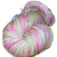 """Luxury Hand Dyed Wool Sock Yarn, 3-ply Light Fingering Weight, Light Pink and Apple Green """"Gabrielle Delacour, Harry Potter Saga"""""""