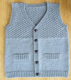 ravelry project gallery for 8 junior pattern by drops design - PIPicStats Baby Knitting Patterns, Baby Boy Knitting, Knitting For Kids, Baby Patterns, Knitted Baby Cardigan, Baby Pullover, Knit Vest, Baby Boy Vest, Boys Sweaters