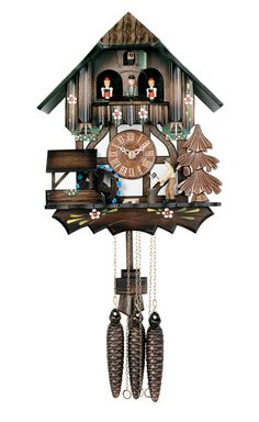 One Day Musical Cuckoo Clock Cottage with Dancers, Woodchopper, and Waterwheel