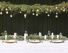 Put NZ spin on this.Build House Home: australian inspired christmas christmas eucalyptus canopy Aussie Christmas, Australian Christmas, Summer Christmas, Diy Christmas, Xmas, Christmas Table Settings, Christmas Tablescapes, Christmas Table Decorations, Homemade Decorations