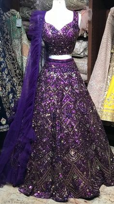 Purple Lehenga with mirror, sequin and katdana embroidery Fabric: Silk Occasion- Bridal Wear Custom designed according to client measurements and color preference. Production and delivery time is 120 days! Indian Bridal Outfits, Pakistani Bridal Dresses, Bridal Lehenga, Indian Gowns Dresses, Purple Gowns Dresses, Prom Dresses, Wedding Dresses, Wedding Lehenga Designs, Lehnga Dress