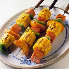 Grilled Ham and Corn Kabobs    Fresh apricots make a surprise appearance in this skewered main dish -- perfect for a barbecue. Brush a mixture of apricot nectar, honey, lemon juice and mustard on the grilling kabobs.