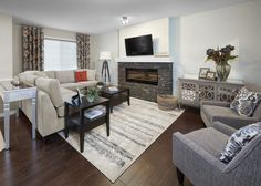 Our DIY stone fireplace created by you! Visit our NEW #brookfieldDIY show home in Chappelle Gardens to see this amazing project.