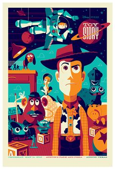 Updated - Mondo Toy Story Poster by Tom Whalen Posters Disney Vintage, Disney Movie Posters, Cartoon Posters, Movie Poster Art, Poster Series, Art Posters, Cool Posters, Disney Cartoons, Toy Story Series