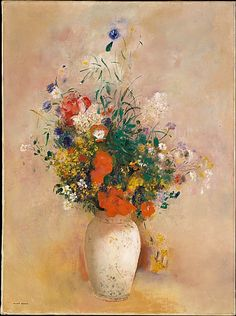 Odilon Redon (French, 1840–1916). Vase of Flowers (Pink Background), ca. 1906. The Metropolitan Museum of Art, New York. Bequest of Mabel Choate, in memory of her father, Joseph Hodges Choate, 1958 (59.16.3) #spring